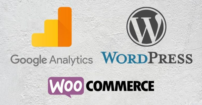 Google Analytics Wordpress och WooCommerce loggor