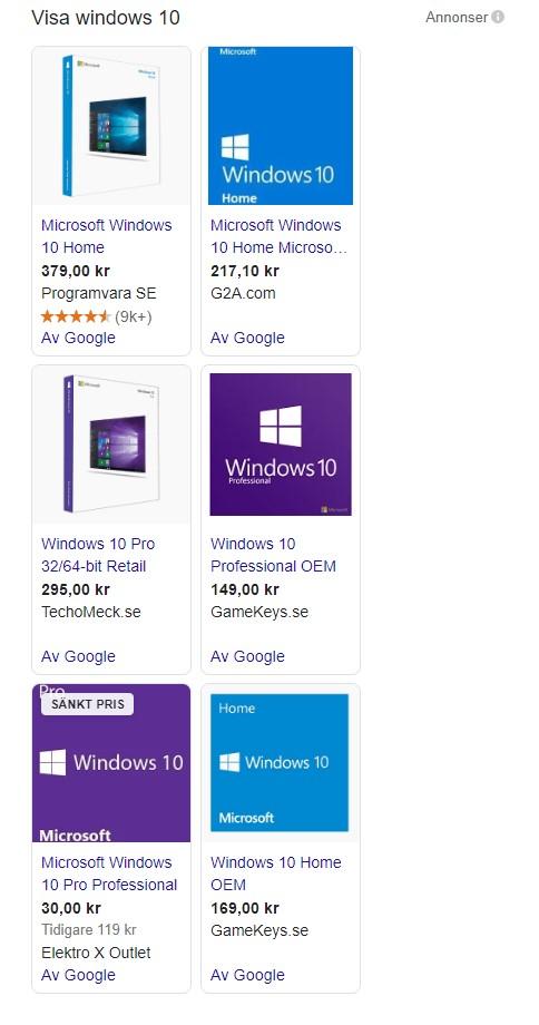 Windows 10 shoppingresultat på google