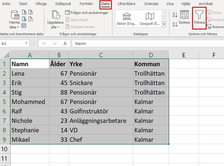Filtrera i Excel