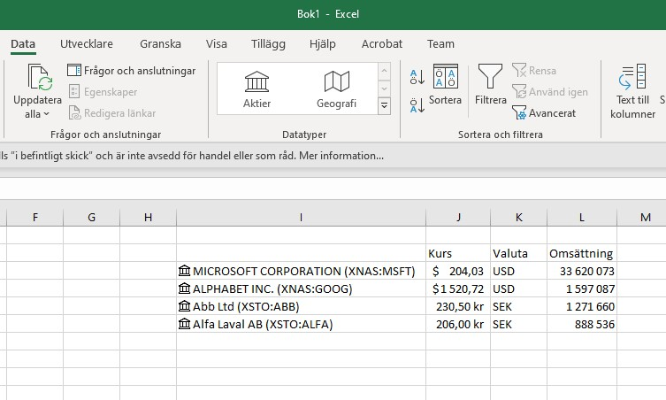 Aktiekurser Microsoft Excel