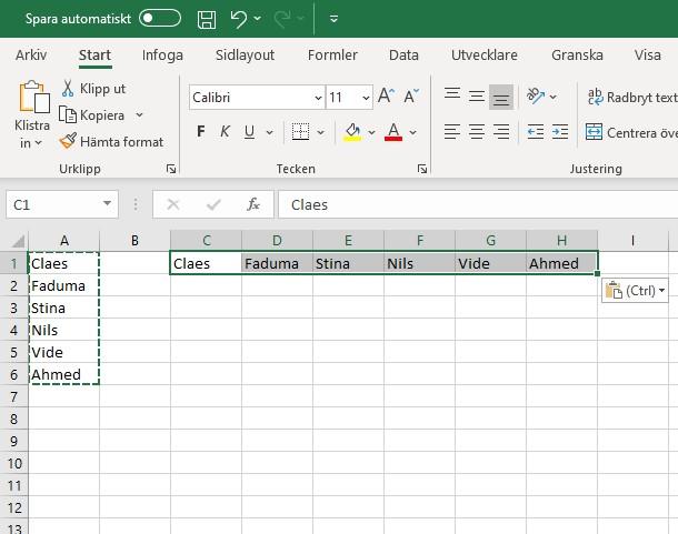 Excel transponera