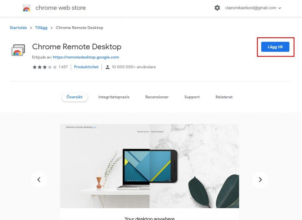 Chrome Remote Desktop installation
