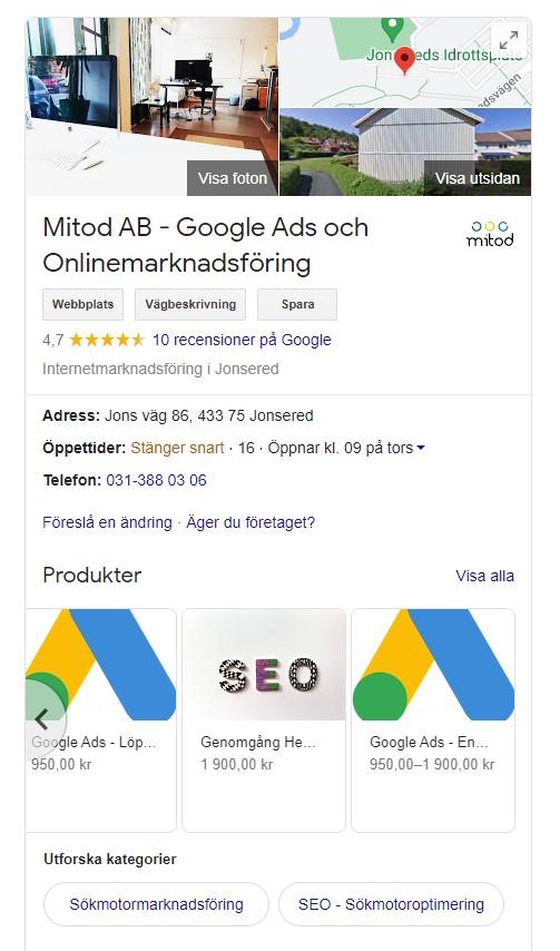 Skärmdump av Google My Business på Desktop