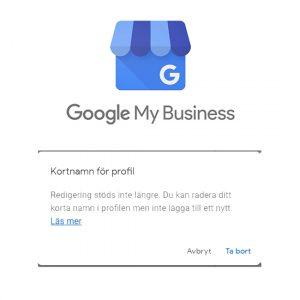 Google My Business kortnamn